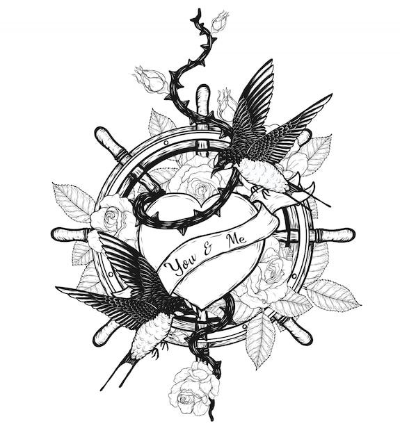 Połyka z tatuażem wektor serca ręcznie rysunek Premium Wektorów