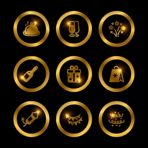 Połysk Złote świąteczne Ikony Kolekcji Premium Wektorów