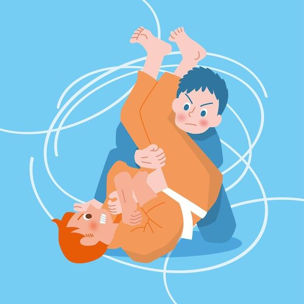Pomarańczowe I Niebieskie Postacie Wojowników Jiu-jitsu Darmowych Wektorów