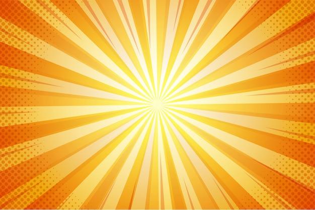 Pomarańczowe Lato Streszczenie Komiks Kreskówka światło Słoneczne Tło. Premium Wektorów