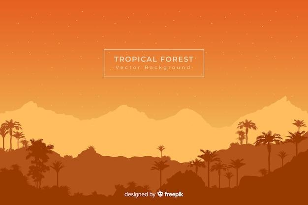 Pomarańczowe Tło Z Sylwetkami Lasów Tropikalnych Darmowych Wektorów