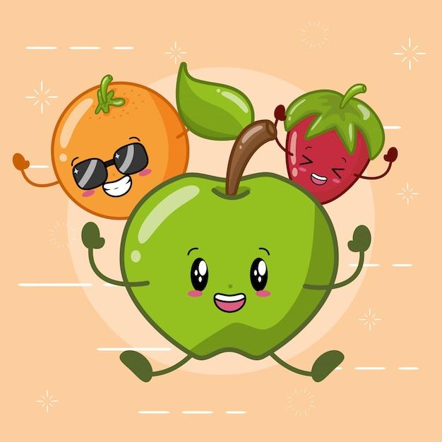 Pomarańczowe, zielone jabłko i truskawka uśmiechnięte w stylu kawaii. Darmowych Wektorów