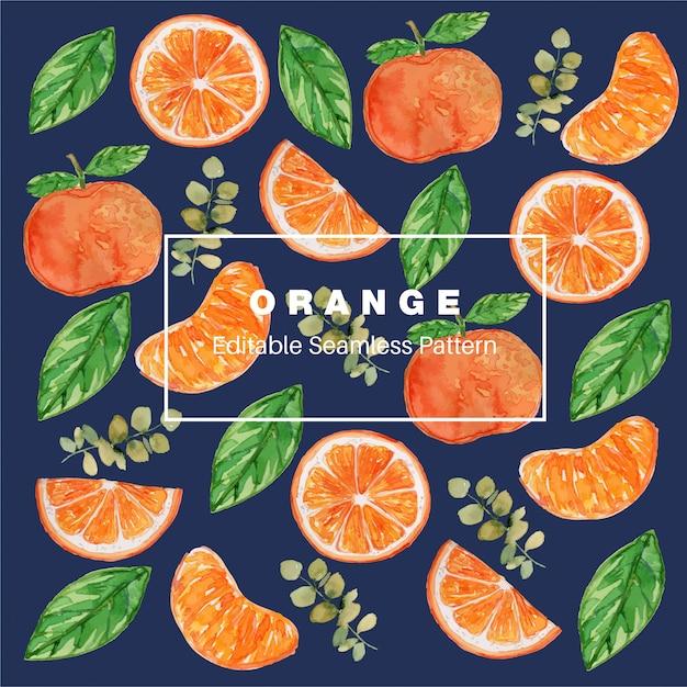 Pomarańczowy akwarela bezszwowe wzór Premium Wektorów