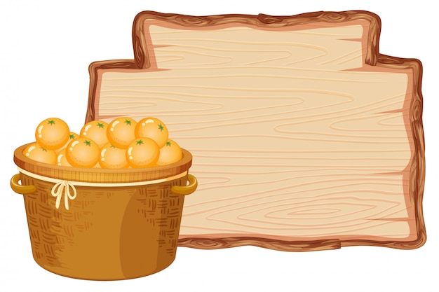 Pomarańczowy kosz na drewnianej desce Darmowych Wektorów