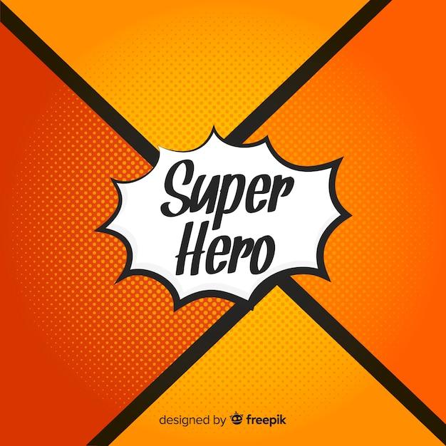 Pomarańczowy półtonów superbohatera tło Darmowych Wektorów