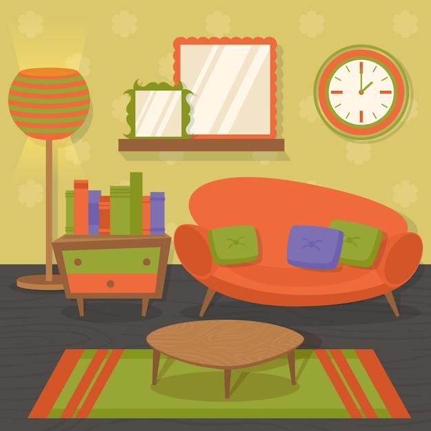 Pomarańczowy Projekt Wnętrza Salonu Salon Z Ilustracji Wektorowych Stół Lustro Sofa Premium Wektorów
