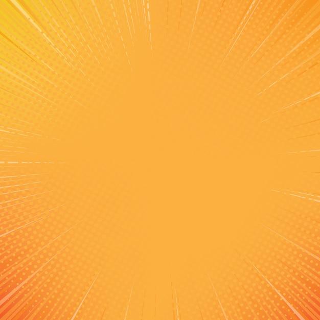 Pomarańczowy słońce komiks stylu tło z półtonów Premium Wektorów