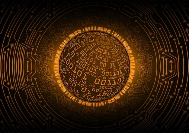 Pomarańczowy świat cyber obwodu przyszłości technologii tło Premium Wektorów