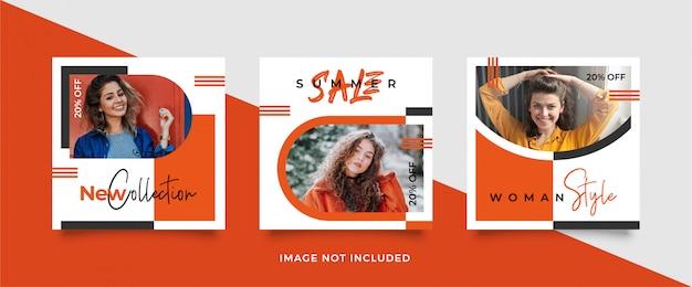 Pomarańczowy Szablon Transparentu Postu W Mediach Społecznościowych Premium Wektorów