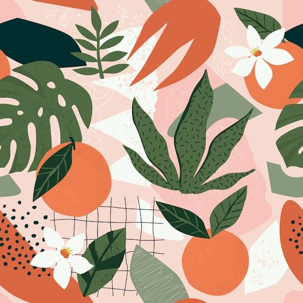 Pomarańczowy Wzór Kwiatowy I Abstrakcyjne Kształty Premium Wektorów