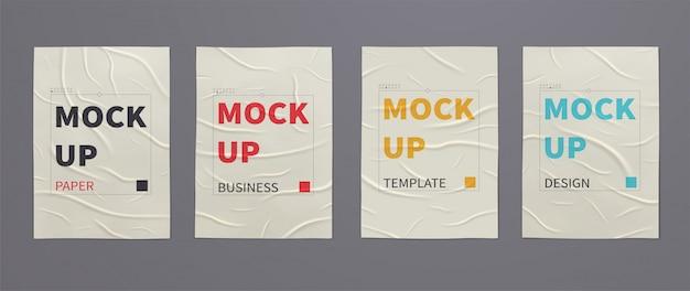 Pomarszczone Mokre Plakaty Ze Zmiętymi Arkuszami Papieru. Premium Wektorów