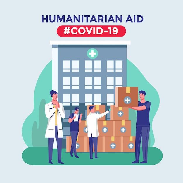 Pomoc Humanitarna Dla Kraju Epidemii I Pandemii Koronawirusa Premium Wektorów
