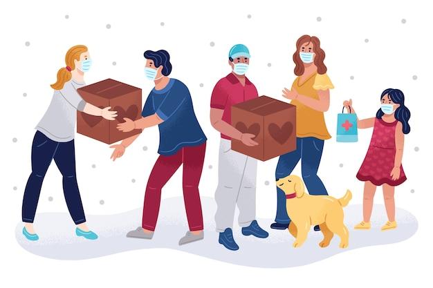 Pomoc Humanitarna I Pomoc Dla Psów Premium Wektorów