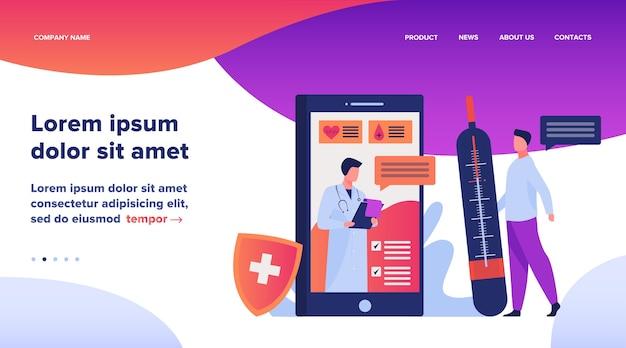 Pomoc Online Lekarza Za Pośrednictwem Ilustracji Wektorowych Smartfona. Pomoc Mobilnej Medycyny Porozmawiaj Z Lekarzem Lub Pielęgniarką. Koncepcja Leczenia, Opieki Zdrowotnej I Farmaceutyków Do Projektowania Stron Internetowych Darmowych Wektorów
