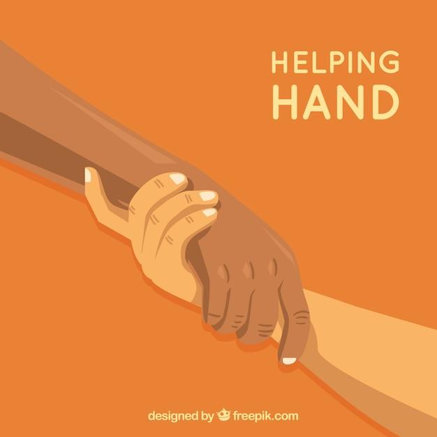 Pomocna dłoń wspiera tło w stylu płaskiej Darmowych Wektorów