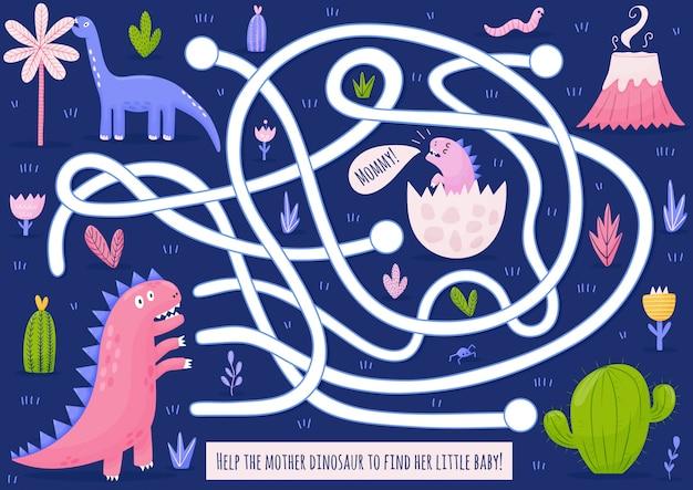 Pomóż Matce Dinozaurowi Znaleźć Swoje Dziecko. Zabawna Gra Labirynt Dla Dzieci Premium Wektorów