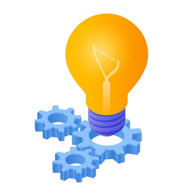 Pomysł Izometryczny Ikona. żarówka Z Biegami. Ikona żarówki. Premium Wektorów