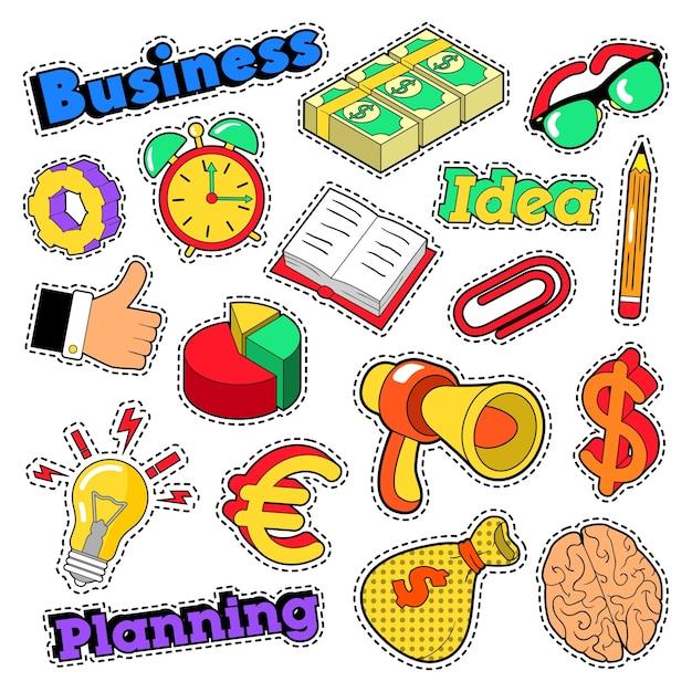 Pomysł Na Biznes Komiks, Naszywki, Odznaki Z Mózgiem I Megafonem. Wektor Zbiory Premium Wektorów
