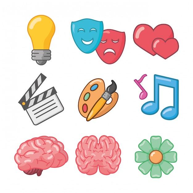 Pomysł na kreatywność mózgu Darmowych Wektorów