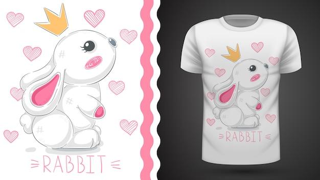 Pomysł na króliczka księżniczki na koszulkę z nadrukiem Premium Wektorów