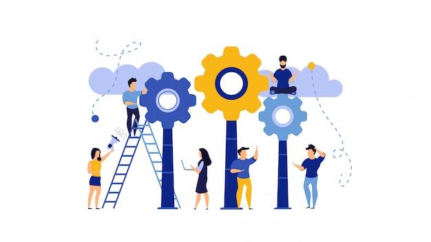 Pomysł Praca Z Przekładni Pojęcia Biznesową Kreatywnie Ilustracją. Mężczyzna I Kobieta Projektują Sukces Innowacji Premium Wektorów