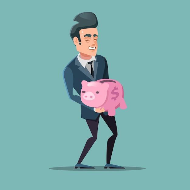 Pomyślny Biznesmen Z Różową Skarbonką. Oszczędzać Pieniądze. Premium Wektorów