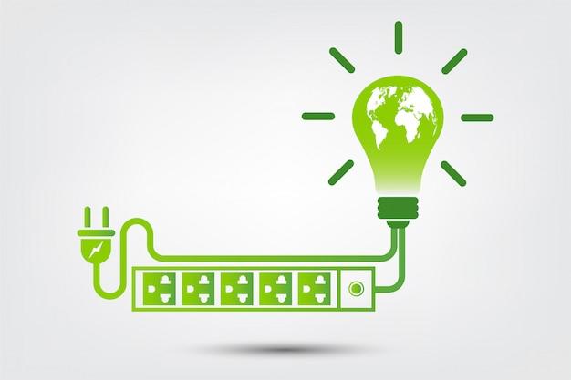 Pomysły Energetyczne Ocalić Koncepcję świata Wtyczka Zielona Ekologia Ekologiczna Premium Wektorów