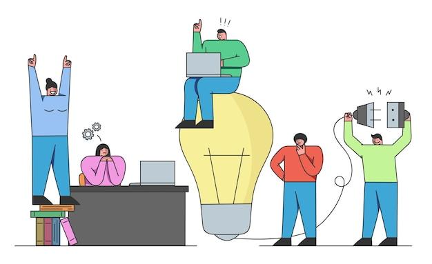 Pomysły Na Start-up Rozwój Nowych Rozwiązań I Rozpoczęcie Nowego Biznesu Premium Wektorów