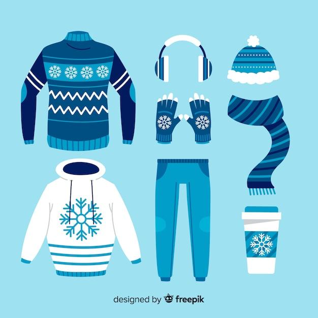 Pomysły Na Zimowe Dni W Niebieskich Odcieniach Darmowych Wektorów