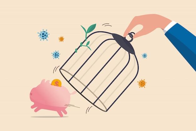 Ponownie Otwórz Gospodarkę Po Zablokowaniu Koronawirusa, Wznowić Działalność W Normalnej Pracy Po Szczytowej Koncepcji Wybuchu Coronavirus Covid-19, Ręka Rządu Odblokowuje Skarbonkę Bez Klatki Za Pieniądze W Dolarach. Premium Wektorów