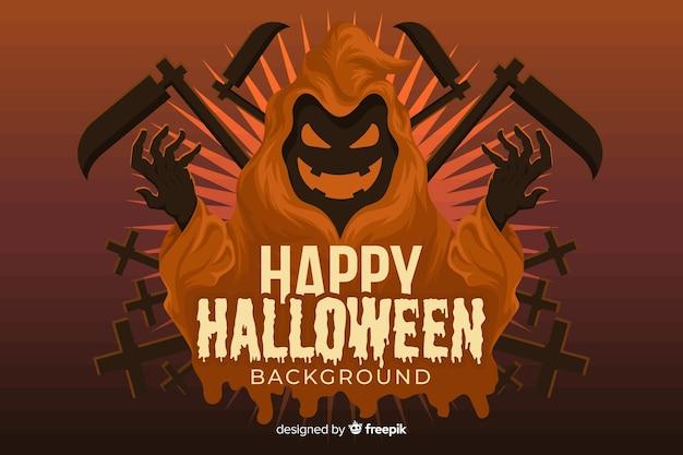 Ponurej żniwiarki halloween tło w płaskim projekcie Darmowych Wektorów