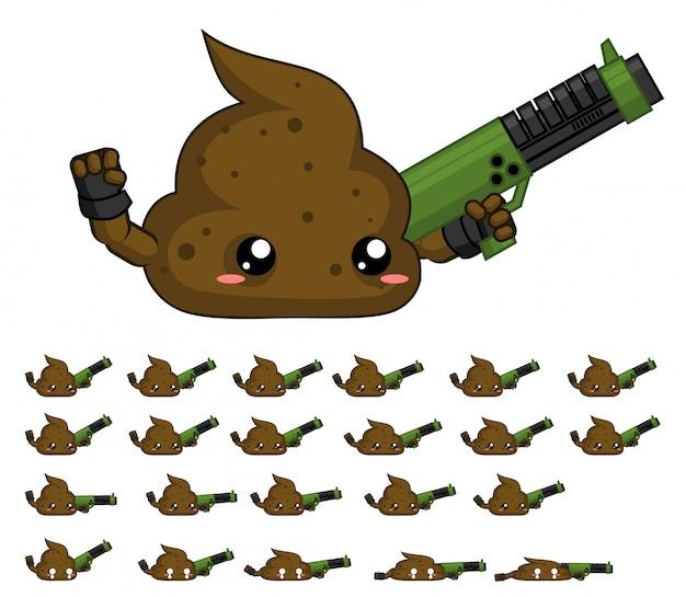 Poop gra sprite Premium Wektorów