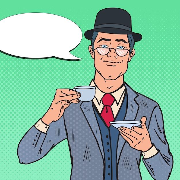 Pop Art Angielski Człowiek Pije Herbatę Rano Premium Wektorów