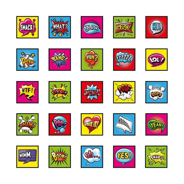 Pop-art Bąbelki Szczegółowe Symbole Stylu Ustawić Projekt Komiksu Wyrażenie Retro Premium Wektorów