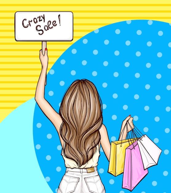 Pop-art Dziewczyna Trzyma Znak I Torby Na Zakupy Darmowych Wektorów