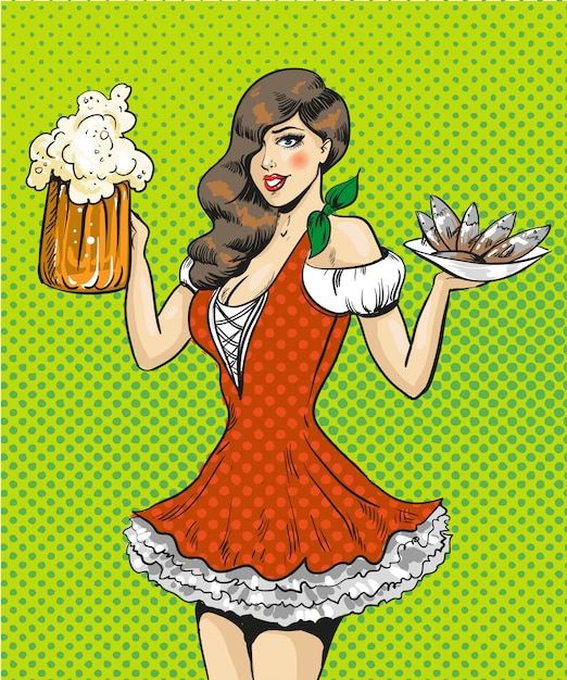 Pop-art ilustracja dziewczyna z piwem i rybami Premium Wektorów
