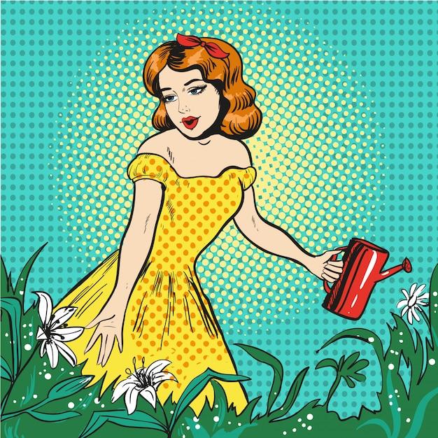 Pop-art ilustracja piękna dziewczyna podlewania kwiatów Premium Wektorów