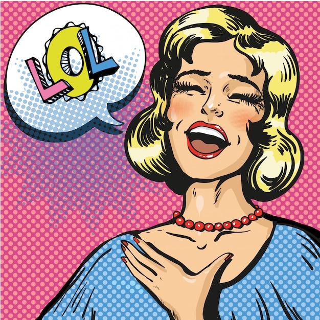 Pop-art ilustracja śmiejąc się głośno kobiety Premium Wektorów