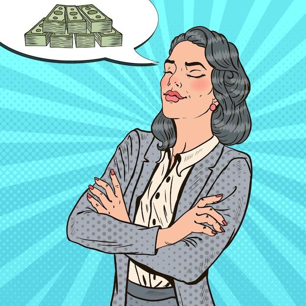 Pop Art Kobieta Sukcesu W Biznesie Marzy O Pieniądzach. Premium Wektorów