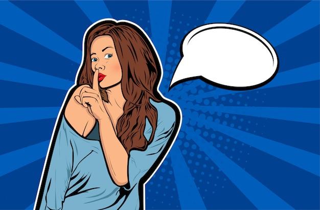 Pop-art kobieta z palcem na ustach, cisza gest z dymek Premium Wektorów