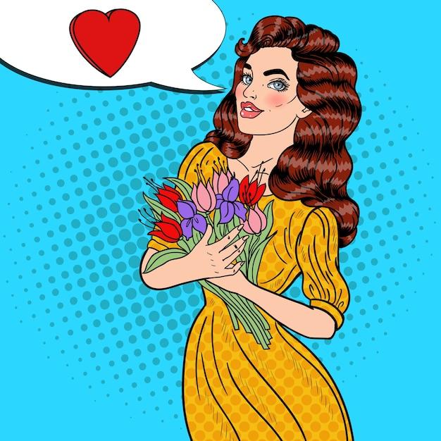 Pop Art Młoda Piękna Kobieta Trzyma Bukiet Kwiatów. Premium Wektorów