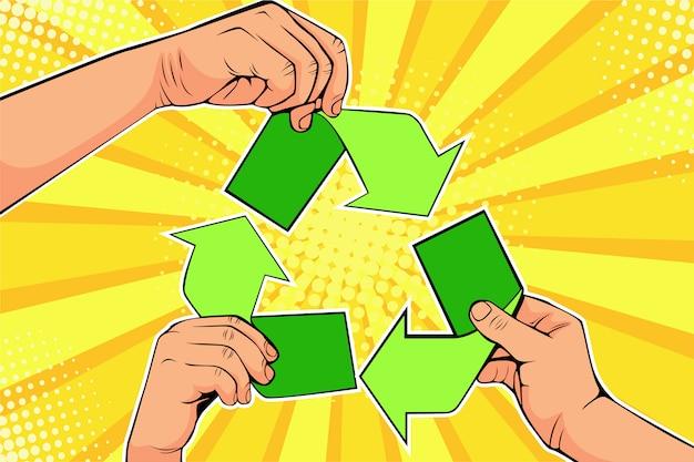 Pop art papier recyklingu znak w ręce. uratuj światową koncepcję ekologii Premium Wektorów