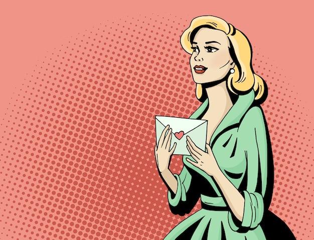 Pop-art Piękna Kobieta Z Listem Miłosnym. Komiks Ręcznie Rysowane Ilustracji. Premium Wektorów