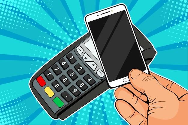 Pop-art pos terminal, payment machine z telefonem komórkowym Premium Wektorów