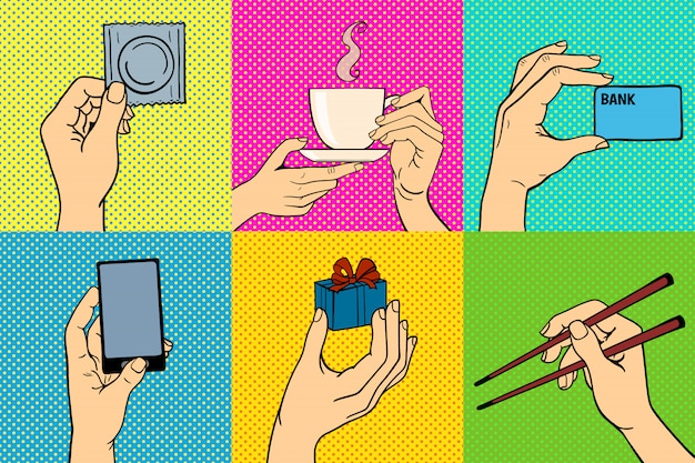 Pop-art ręce wektor zestaw ilustracji Premium Wektorów
