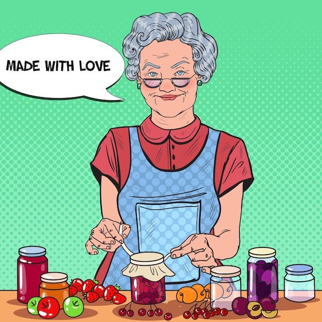 Pop Art Senior Kobieta Dokonywanie Dżem Domowej Roboty Premium Wektorów