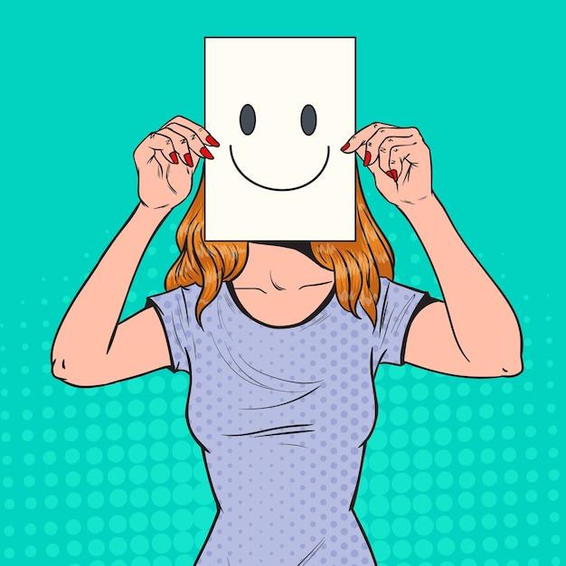 Pop-artu, Kobieta Z Emotikonem Na Kartce Papieru Premium Wektorów