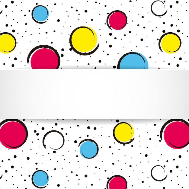 Pop-artu Kolorowe Konfetti Tło. Duże Kolorowe Plamy I Kółka Na Białym Tle Z Czarnymi Kropkami I Liniami Atramentu. Baner Z 3d Papierową Płytą W Stylu Pop-art. Jasny Design Premium Wektorów