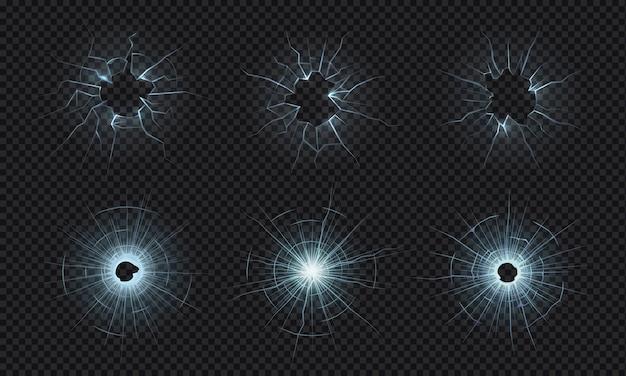 Popękane Szkło. Tekstura Zbitej Szyby, Efekt Rozbitego Ekranu, Dziury Po Kulach W Kruszonym Przezroczystym Szkle. Pęknięty Ekran, Rozbite Lustro, Zniszczona Przednia Szyba Premium Wektorów