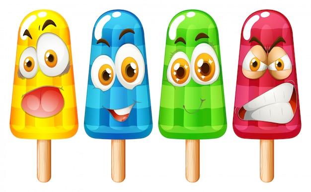 Popsicle z wyrazem twarzy Darmowych Wektorów